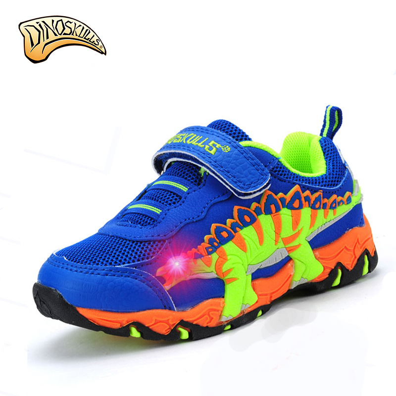 2017 Boys glowing breathable sneakers Boys flashing shoes kids shoes luminous tenis led infantil 3D dinosaur shoes cartoon shoes new led glowing sneakers kids shoes 7 colors usb charge luminous sole with cute wings sneakers light up children shoes