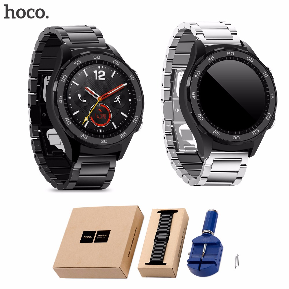 HOCO Watch Band for Huawei 2 Smart Watch Stainless Steel Wrist Strap for Huawei Watch Sport 2nd Band with Adjust Tool smart watch charger cradle with usb charging cable for huawei watch 1 band power charge dock station magnetic charger for huawei