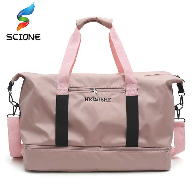 Hot Women Multifunction Training Gym Bag with shoes pocket Large Yoga  duffel Bag Men Outdoor Travel 7d0504cf8a184