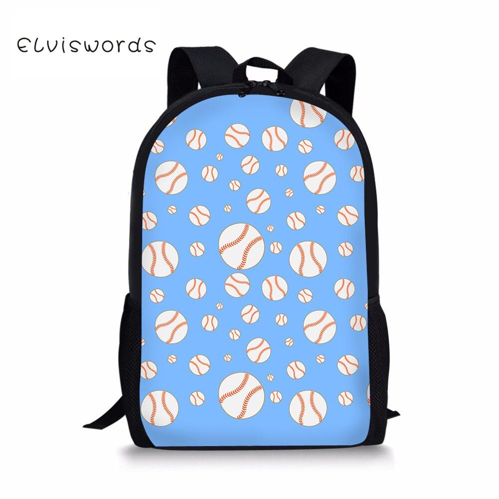 ELVISWORDS Baseball Printed School Backpacks for Student Children Girls 16 inch Laptop Rucksacks Travel Bags Women Mochila in School Bags from Luggage Bags