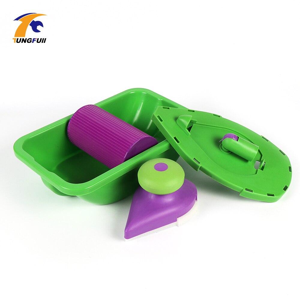 Tungfull 4 stücke Schwamm Punkt Und Farbe Roller Tray Set Haushalt Malerei Pinsel Dekorative Werkzeug APJ Für Home Malerei Dekorieren