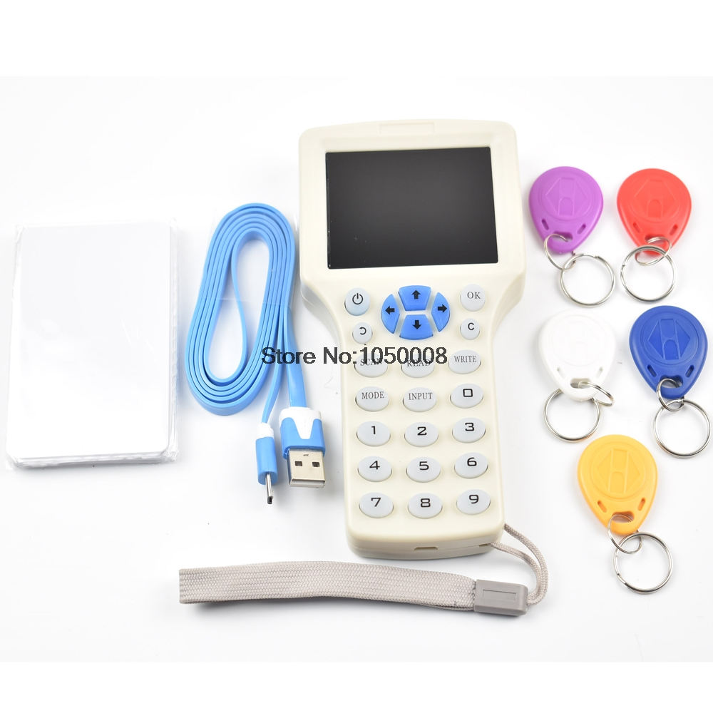 English 10 Frequency RFID NFC Encrypted Copier Reader Writer Cloner+5pcs 13.56mhz UID Writable Keys+5pcs 125khz T5577 Keyfobs super handheld rfid nfc card copier reader writer cloner with screen 5pcs 125khz writable tag 5pcs 13 56mhz uid changeable card