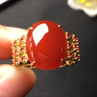 b81db411974e Fine Jewelry Collection Real 18K Yellow Gold AU750 Lucky 100 Natural Red  Jade Gemstone Gourd Rings