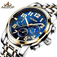 AESOP Watch Men Fashion Luxury Stainless Steel Men's Watch Male Clock Waterproof Wrist Watches For Men Relogio Masculino 2019