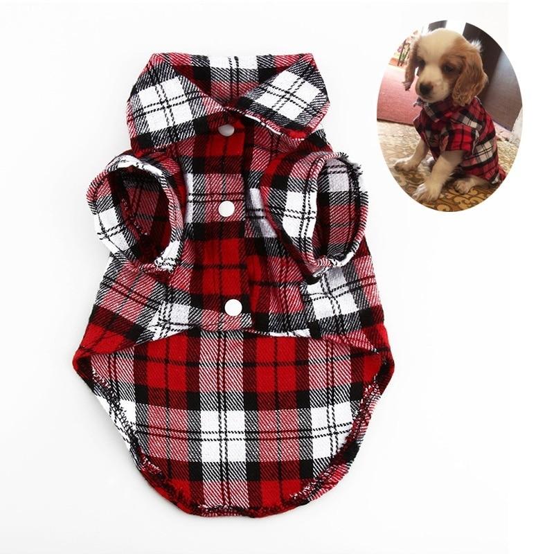 2019 New Spring Pet Fashion Puppy Dog Vests Plaid Stripe Pet T Shirt Cotton Cat Grid Costumes Dog Autumn Clothes Jacket Coats