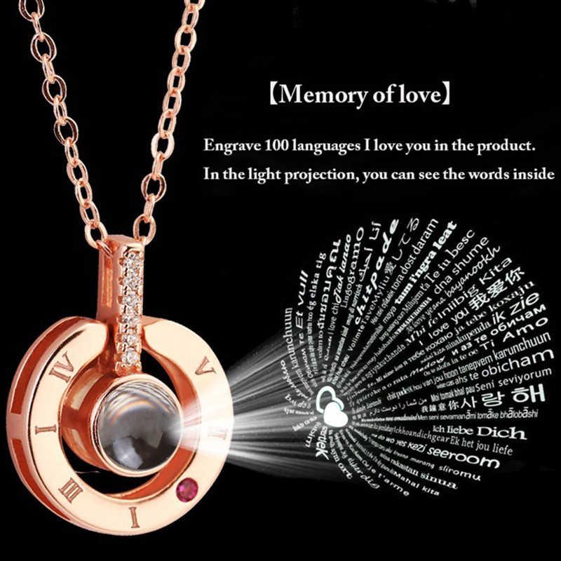 100 języków kocham cię naszyjnik kobiety kryształ okrągły naszyjnik złoto srebro kolory Bijoux Collier kobiety biżuteria Choker