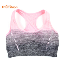 THUNSHION Sports Bra High Stretch Breathable Top Fitness Women Padded for Running Yoga Gym Seamless Crop Bra Gradient Sport Bra(China)