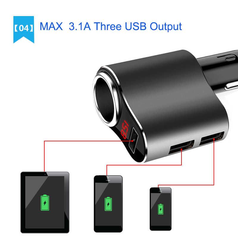 Yantu 1 Way Sockets 5V/3.1A Car Cigarette Lighter Socket Voltmeter Splitter Power Adapter 12~24V 3 USB Car Charger For GPS DVR