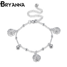 Bryanna Hot Sale Promotion 2017 Little Round Ball Flower Silver Plated Foot Anklets for Women Jewelry Wedding Gift LKNSPCA085