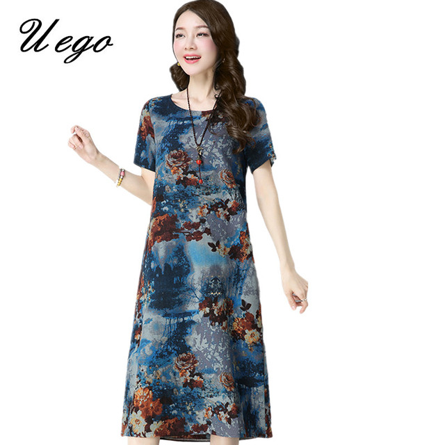 Uego 2018 New Arrival Cotton Linen Summer Dress Print Floral Pattern