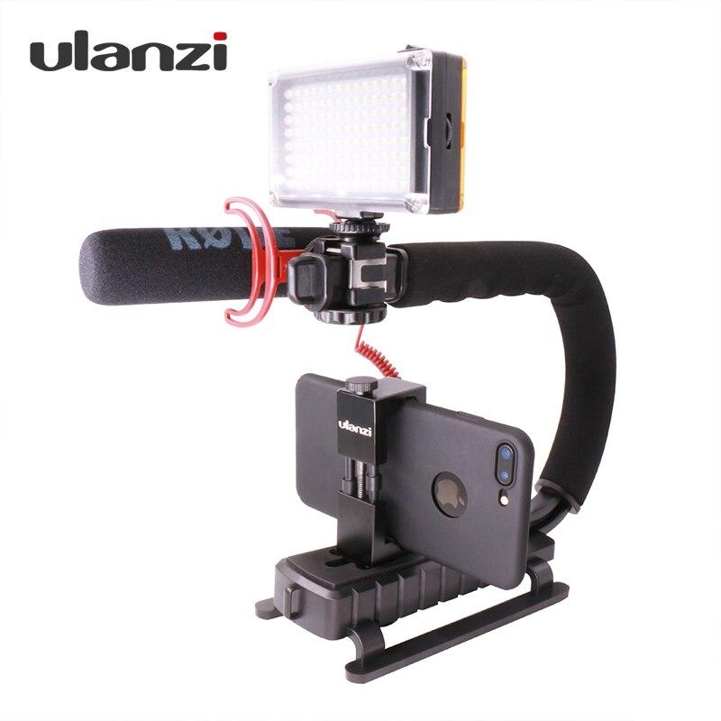 Ulanzi U-agarre Triple de montaje de vídeo de la acción de estabilización mango plataforma para iPhone 8 X Gopro Smartphone Canon sony DSLR Cámara