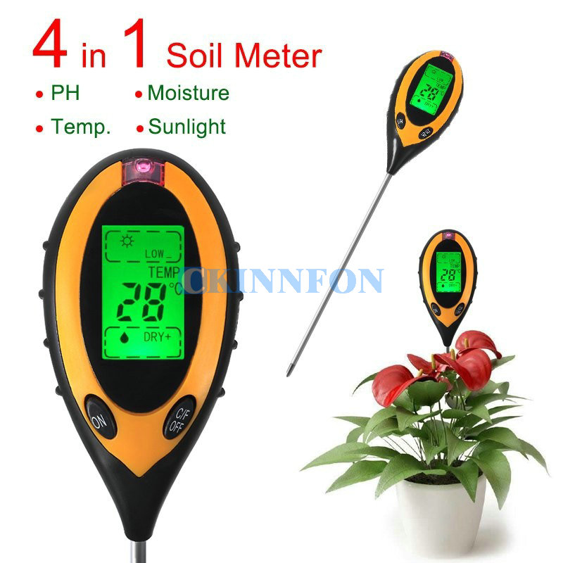 DHL 20PCS 4 In 1 Digital pH Moisture Sunlight Soil Meter Temperature Moisture Sunlight Tester Value