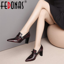 FEDONAS Top Quality High Heels Genuine Leather Pointed Toe P