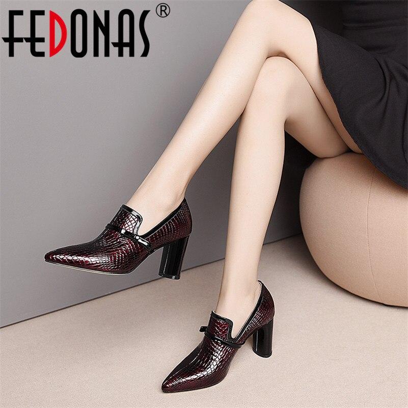 FEDONAS Top qualité talons hauts en cuir véritable bout pointu chaussures de fête femme sans lacet printemps été marque bureau pompes chaussures