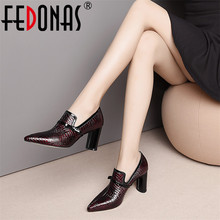 FEDONAS Top Quality High Heels Genuine Leather Pointed Toe Party Shoes