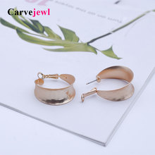 Carvejewl big hoop earrings simple hammered surface stamping for women jewelry European new fashion earings hot