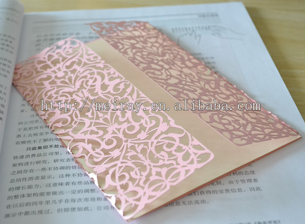 Laser Cut Wedding Cards Orange Invitations With Lace Pink Made In China From Home Garden On
