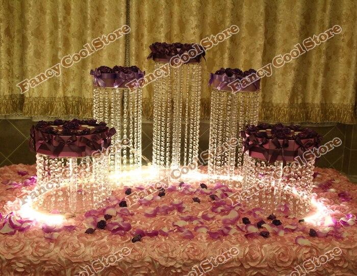 5 pièces/ensemble cristal gâteau plaque fruits bonbons plateau fête d'anniversaire alimentaire Stand de noël mariage Dessert plaque acrylique gâteau Stands 05D3