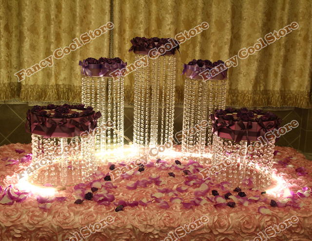5pcs/set  Crystal Cake Plate Fruit Candy Tray Birthday Party Food Stand Chrismas Wedding Dessert Plate acrylic Cake Stands 05D3