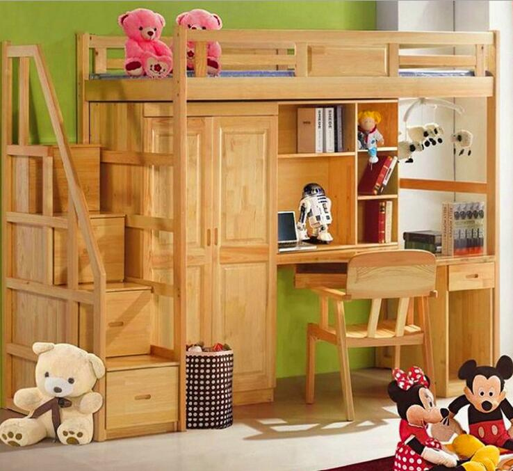 Webetop Double Bed Natural Solid Wood Childrens Bunk Bed with