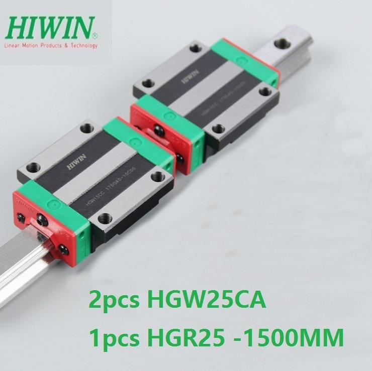 1pcs 100% original Hiwin linear guide rail HGR25 -L 1500mm + 2pcs HGW25CA HGW25CC flange carriage block for cnc noulei hgw25cc hgw25ca slide block with 1500mm linear guide rail hgr25 for cnc z axis hgw25 guia