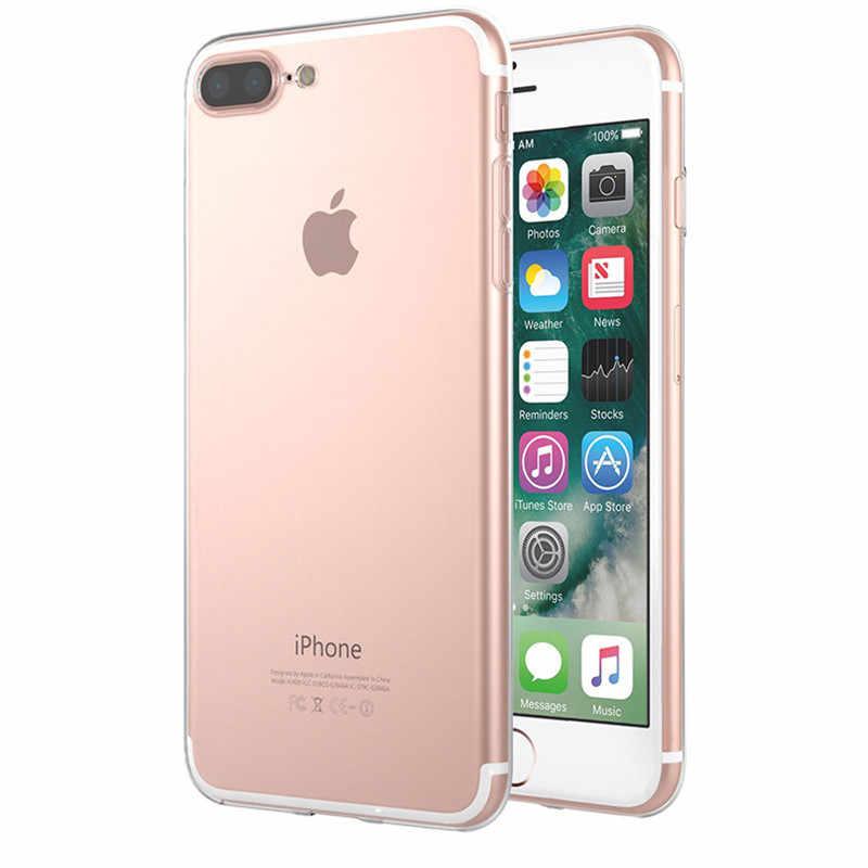 Ultra Tipis Jelas Transparan Lembut Silicone Ponsel Case Penutup Fundas Coque untuk iPhone X 6 S 7 7Plus 6 S 6Plus 8 8 PLUS 5 S 5 5 S SE 4S