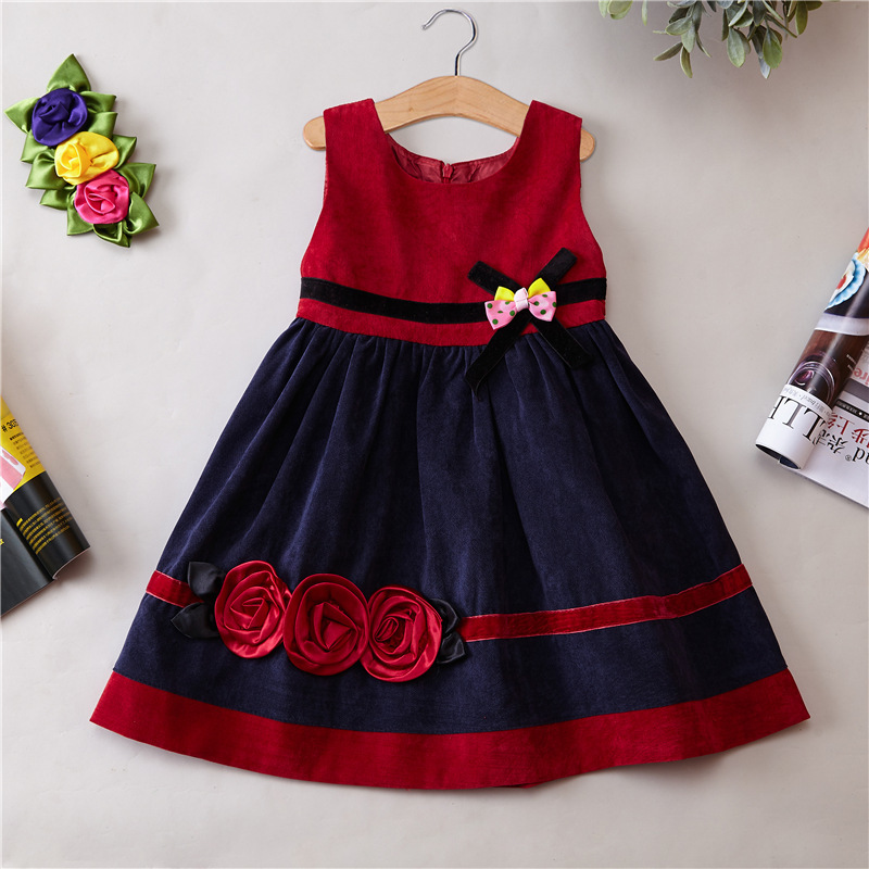 2016 Autumn winter Clothing Corduroy Girls Dress Girl Spring And Autumn winter vest dress party princess dress new arrival korean spring autumn and winter girls dress vest dress girls new year dress nigerian dress with hat