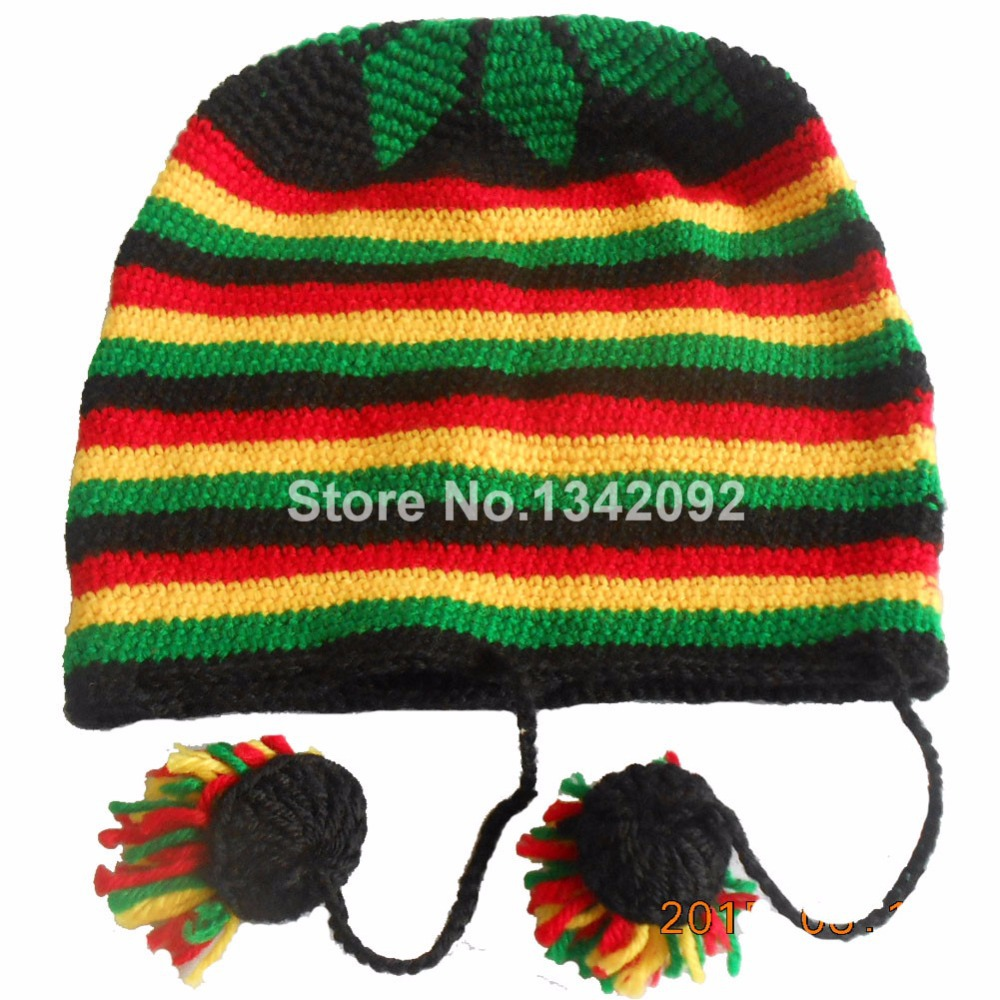 fc13c5fb726bf Fashion Punk Jamaica Reggae Handmade Knitted Winter Warm Beanie Hat