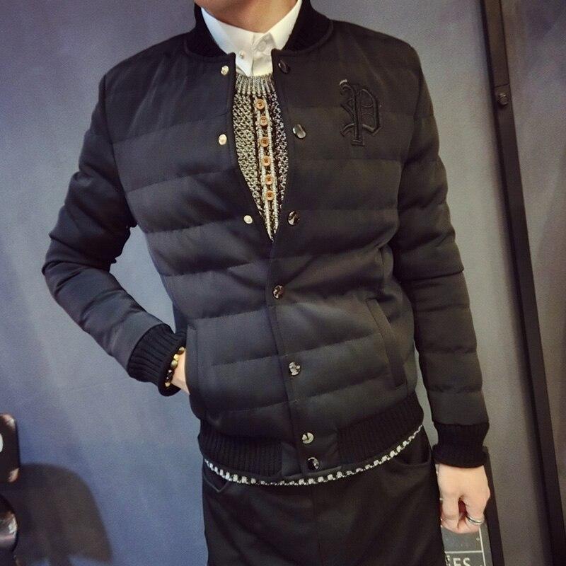 new winter coat male Korean Short Jacket Mens youth baseball uniform thin coat Metrosexual thick cotton padded jacket