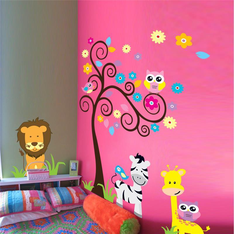 León jirafa cebra animal pegatinas de pared para niños decoración de la habitación 5091. diy