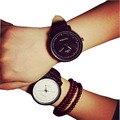 2015 Unisex Pulseira De Couro Relógios Homens de Luxo Da Marca Big Dial Men relógio Para Amantes do Esporte Branco Preto Senhora Mulheres Relógio de Quartzo AB084