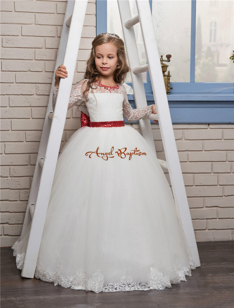 ae15e88ba95f2 New Princess white ball gown flower girl dresses appliqued lace red bow  with illusion back kids first communion gown-in Dresses from Mother & Kids  on ...