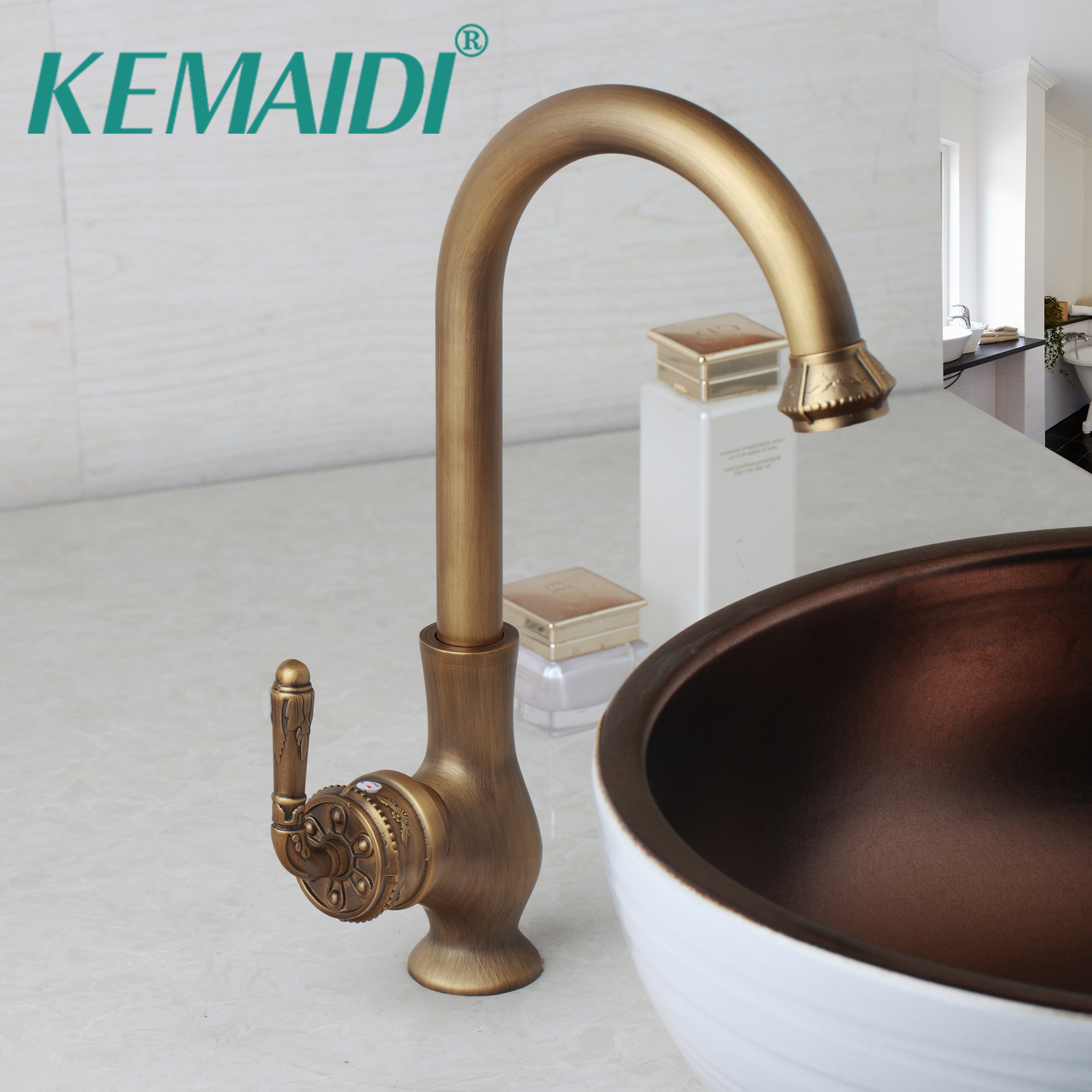 KEMAIDI Bathroom Sink Swivel Bathroom Faucet Tap Brass Basin Mixer Tap Faucet Vintage Engraved Handle Roatated Antique Brass kemaidi 3 pcs antique brass
