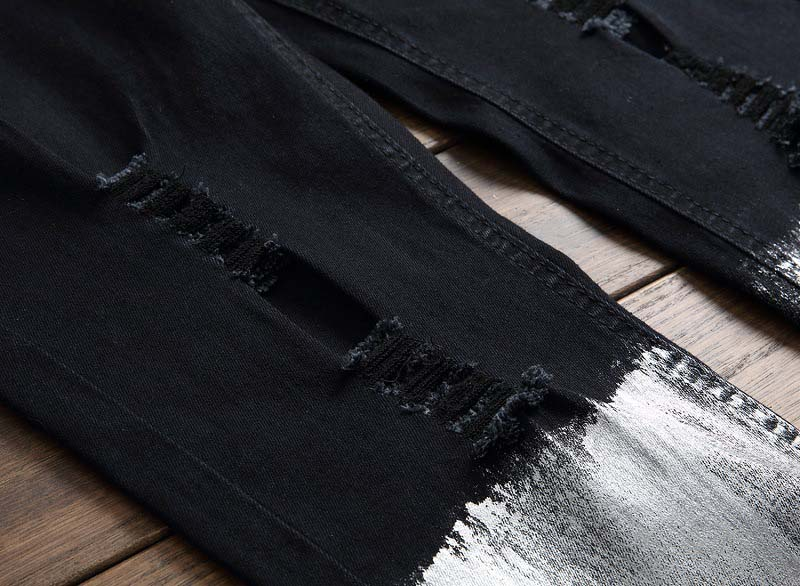 Mcikkny New Fashion Men`s Hip Hop Denim Jeans Ripped Pleated Pants For Male Ankle Zipper (6)