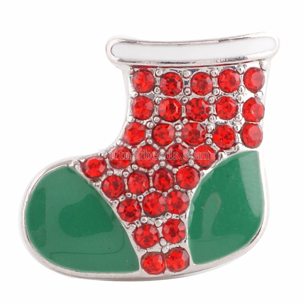 10PCS/lot Christmas Snap Jewelry snow boots Rhinestone Ginger Snaps 20mm Snap Button Fit Charm Bracelet Jewelry KC6160