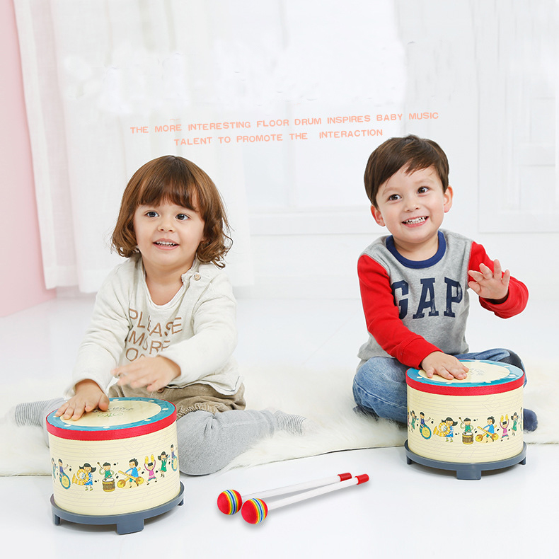 Children Korea Musical Drum Toy 8 Inch Wooden Floor Drum Musical Percussion Instrument with 2 Mallets