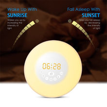 Creative RGB Sunrise Simulation Alarm Clock Light Touch induction Digital Wake Up LED Lamp with FM Radio & Snooze Function Gifts(China)