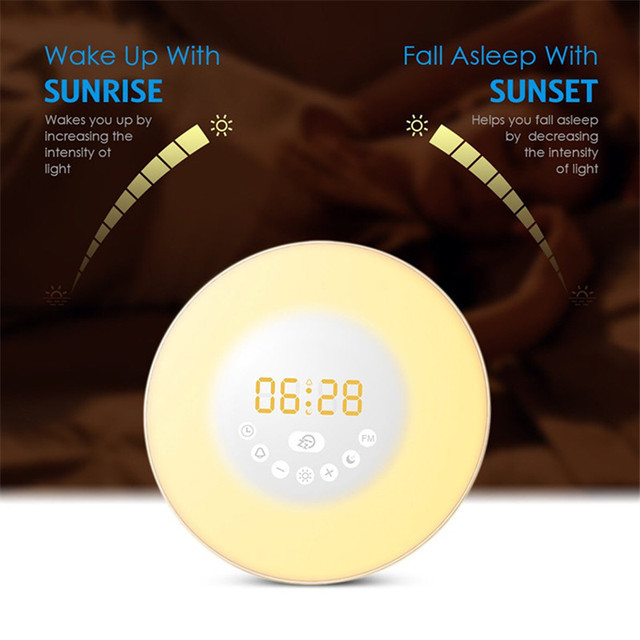 Creative RGB Sunrise Simulation Alarm Clock Light Touch induction Digital Wake Up LED Lamp with FM Radio & Snooze Function Gifts