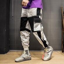 Men Hip Hop Belt Cargo Pants Patchwork Overalls Muti-pockets Japanese Streetwear Joggers Quality Cotton Harem