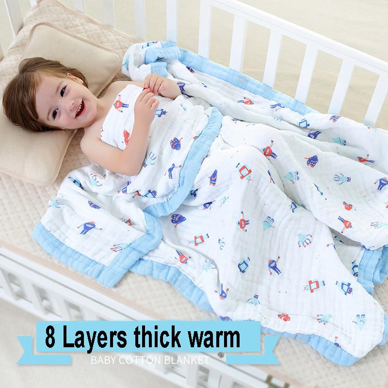 8 Layers Baby Muslin Cotton Blanket & Swaddling Bedding Thick Warm Newborn Wrap Autumn &Winter Children Bedding Quilt 120*120cm free shipping infant children cartoon thick coral cashmere blankets baby nap blanket baby quilt size is 110 135 cm t01