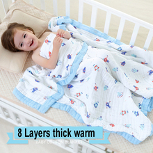ФОТО 8 Layers Baby Muslin Cotton Blanket  Swaddling Bedding Thick Warm born Wrap Autumn Winter Children Bedding Quilt 120120cm