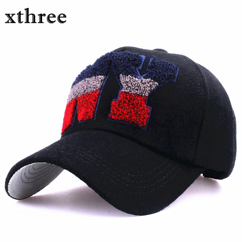 xthree fashion wool baseball cap snapback hat letter embroidery casquette cap fall winter hat for men women cap wholesale wool felt cowboy hat stetson black 50cm