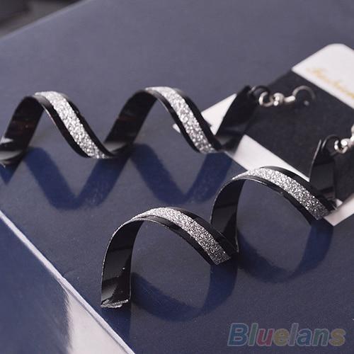 Bluelans Women Retro Bead Twist Spiral Eardrops Long Dangle Hook Earrings Jewelly