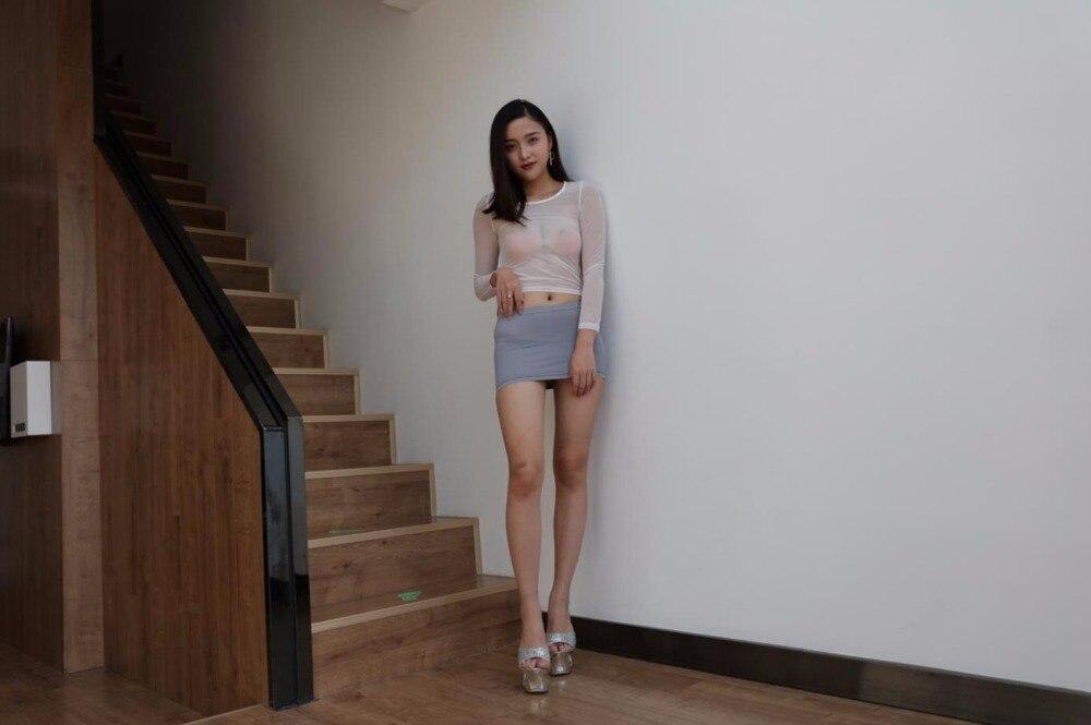 93ce87886 € 6.3 |Las mujeres Sexy dama minifalda rosa/gris falda Micro Mini Super  caliente ver a través de la perspectiva transparente de verano en Faldas de  ...