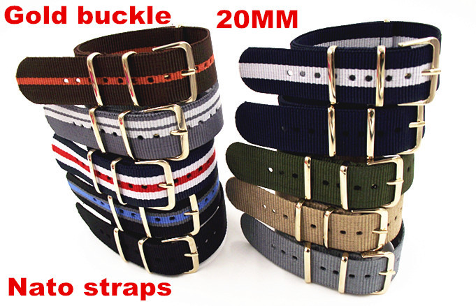 Gold buckle New arrived - Wholesale 10PCS/lots High quality 20MM Nylon Watch band NATO straps waterproof watch strap gold color wholesale 10pcs lot high quality 20mm nylon watch band nato waterproof watch strap colorful fashion wach band nato strap new