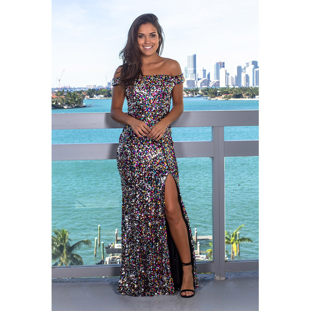 Off the Shoulder Mermaid Summer Bohemian Beach Dress with Sequins Maxi Women Dresses Solid Empire Sexy Vestidos Verano 2019