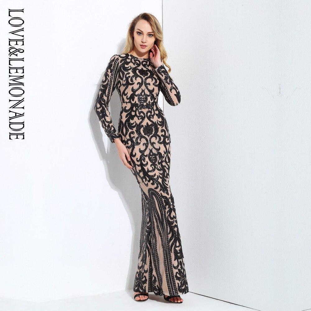 Love Lemonade Black Geometric Graphics Sequins Long Dress LM0590