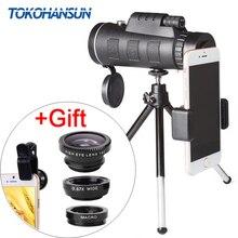 TOKOHANSUN мобильный телефон объектив камеры 40x телескоп телеобъектив 40X60 объектив + 3в1 рыбий глаз широкоугольный макрообъектив для samsung iPhone