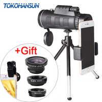 TOKOHANSUN lente de la cámara del teléfono móvil 40x telescopio telefoto 40X60 Lentes + 3in1 Fisheye gran angular Macro Lentes para samsung