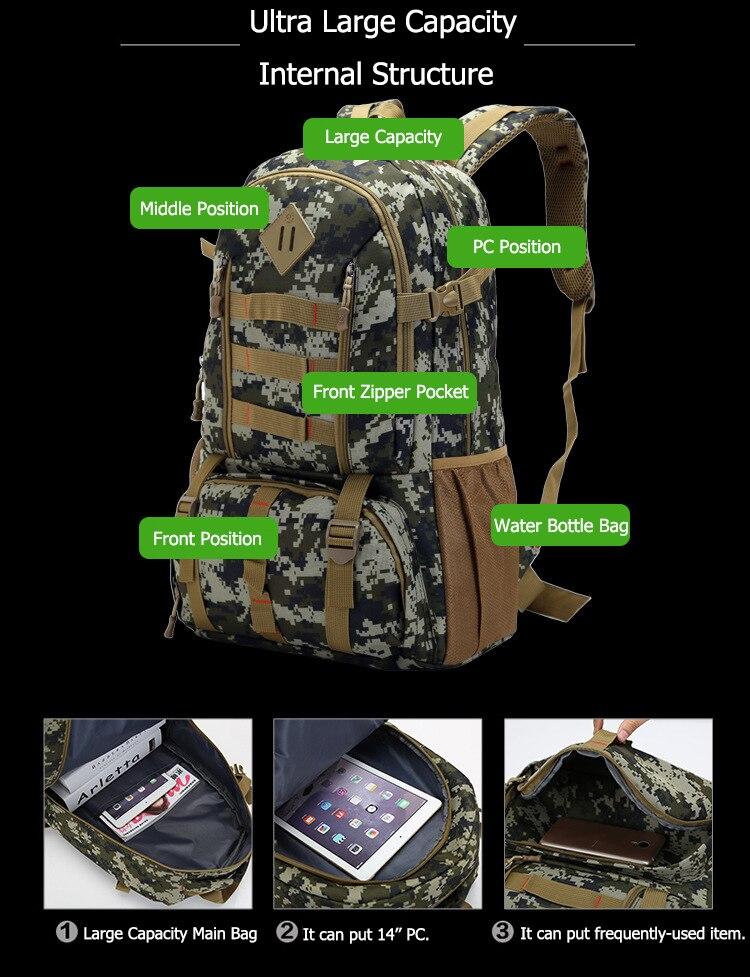 caça caminhadas acampamento mochila do exército saco de esportes